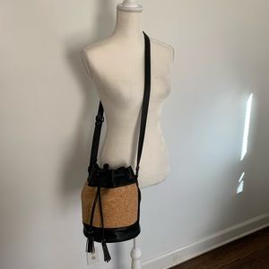 Pixie Mood Bags - Pixie Mood cork black faux leather bucket bag